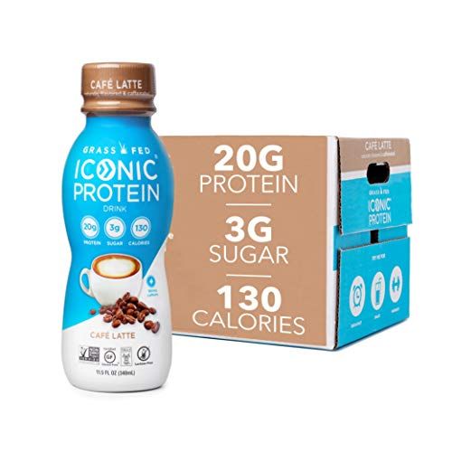 Iconic Beverages Protein Drinks, Cafe Latte (12 Pack)   Low Carb, High Protein   20G Protein + 180mg Caffeine   Grass Fed, Lactose Free, Gluten Free, Non-GMO, Kosher   Keto Friendly