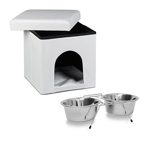 Relaxdays 2 teiliges Set Home Sweet Hund XL, Hundebox als Sitzhocker mit Tierhöhle, Hundebett weiß, Doppelnapf Futterstation