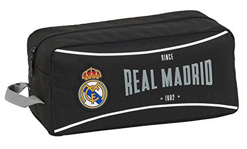 Safta 812024440 Bolso Zapatillas Zapatillero 34 cm Real Madrid CF, Negro