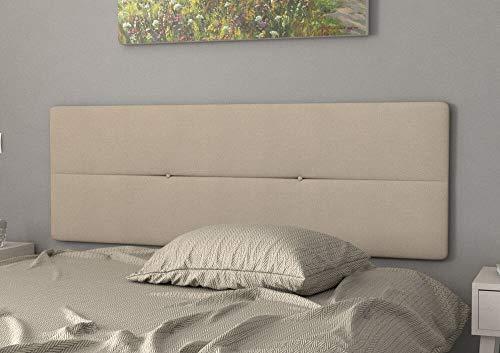 LA WEB DEL COLCHON Cabecero de Cama tapizado Acolchado Camile 145 x 55 cms Apto para Camas de 120 y 135 Textil Poliester Beige Incluye herrajes para Colgar con regulador de Altura