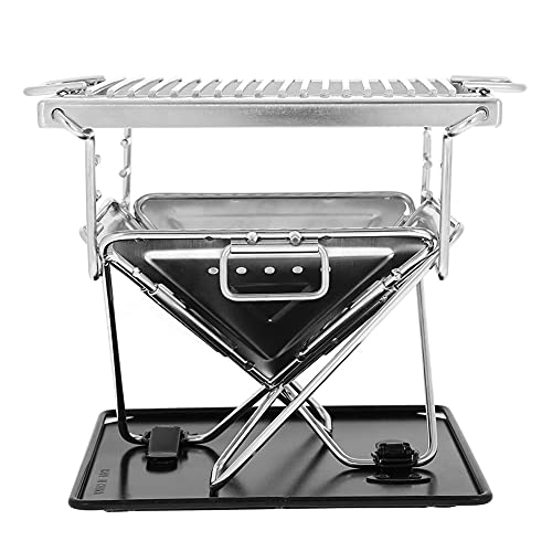 Folding Charcoal Grill, Barbecue Grill Rack, Campfires Grill 304 Stainless Steel Grate with Storage Bag, Stainless Steel Grill for Outdoor Camping