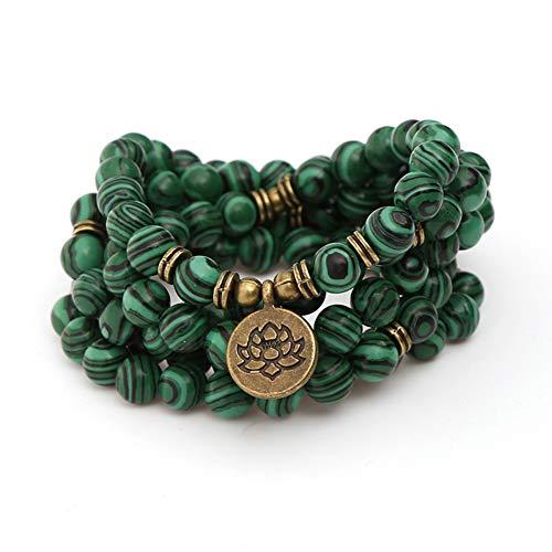 WANZIJING Pulsera de Cuentas, 108 Cuentas de oración budistas Meditación de Yoga Joyas genuinas de Collar de Cuentas de malaquita Verde para el Regalo del día del Padre