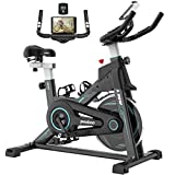 pooboo Indoor Cycling Bike Stationary, Exercise Bike with Adjustable Seat & Handlebar, Stationary bike with LCD Monitor & Large Device Holder, Smooth Quiet Home Workout (Black)