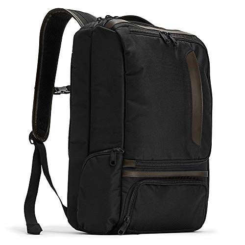 eBags Professional Slim Laptop Backpack with Leather Trim for Travel, School & Business - Fits 17 Inch Laptop - Anti-Theft - (Black/Brown Trim)