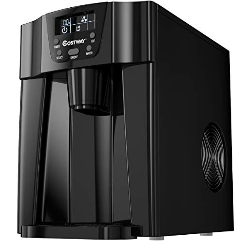 COSTWAY 2 in 1 Countertop Ice Maker with Built-in Water Dispenser, Produces 36 lbs Ice in 24 Hours, Ready in 6 Mins, with LCD Control Panel, Portable Ice Cube Machine for Home, Bar, Party (Black)