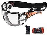 ToolFreak Rip Out Gafas de Seguridad para Trabajo y Deporte, con Cristales Envolventes Transparentes con Acolchado de Espuma