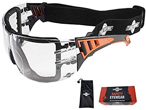 ToolFreak Rip Out Schutzbrille für Arbeit und Sport, mit klaren Wraparound-Gläsern mit Schaumstoffpolsterung, Stoß- und UV-Schutz gemäß EN166 & EN170, inklusive Tragetasche