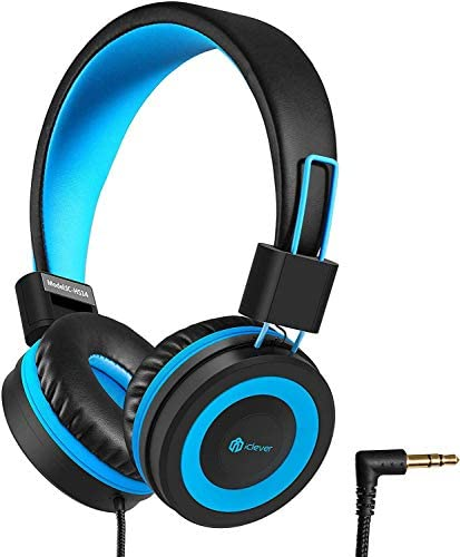 iClever HS14 Kids Headphones, Headphones for Kids with 94dB Volume Limited for Boys Girls, Adjustable Headband, Foldable, Child Headphones on Ear for Study Tablet Airplane School, Black, Blue