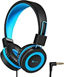 iClever HS14 Kids Headphones, Headphones for Kids with 94dB Volume Limited for Boys Girls, Adjustable Headband, Foldable, Child Headphones on Ear for Study Tablet Airplane School (Black, Blue)