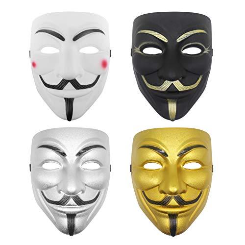 Udekit Hacker Mask V for Vendetta Face Mask for Kids Women Men Halloween Costume Cosplay (4 Pices a Set)