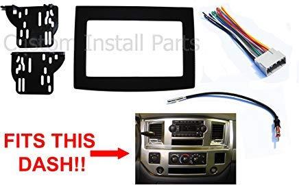 amazon.com: black radio stereo double din dash install kit w/wiring harness  compatible with dodge ram 2006-2010: car electronics  amazon.com