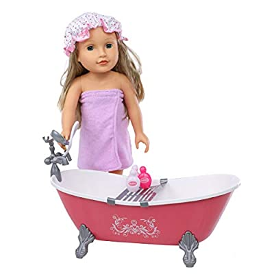 """Beverly Hills 18"""" Doll Accessories Bath Set, Includes Bath Tub, Towel, Shower Cap, and 4 Bath and Shower Accessories"""