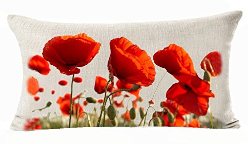 Queen's designer Enchanting Beautiful Red Poppy Flowers Garden Gift Anniversary Day Present Cotton Linen Home Office Decorative Throw Waist Lumbar Pillow Case Cushion Cover Rectangle 12 X 20 Inches