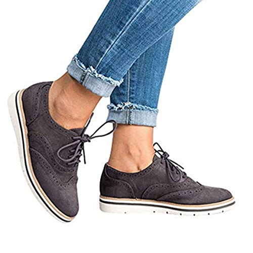 Hupoo_  Womens Round Toe Solid Color Ankle Flat Suede Casual Lace Up Shoes Sport Shoes