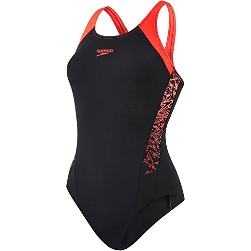 Speedo Boom Splice MuscleBack, Costume da Bagno Donna, Nero (Black/Lava Red), 34 (IT 44)