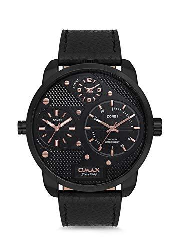Omax Herren-Armbanduhr mit DREI Zeitzonen, echtem Lederarmband, Analog, japanischem Quarz, Schnallenverschluss, 3 ATM wasserdicht (Schwarzes Zifferblatt und Zifferblatt Schwarzes Lederband)