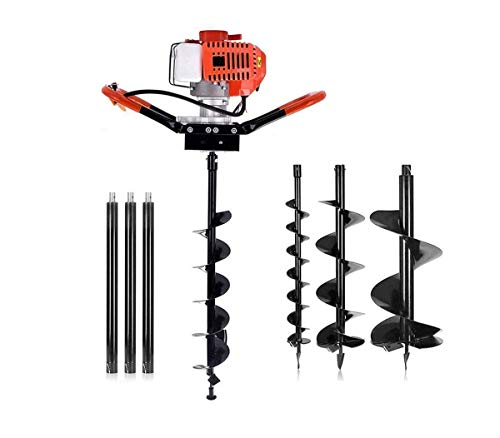"Adasea 72cc 2 Stroke Post Hole Digger, 3KW Petrol Gas Powered Earth Auger with 3 Bits(4"", 8"", 12"") and 3 Extension Rods"