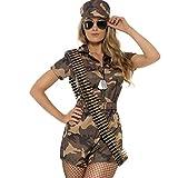 Aufregendes Army Girl Kostüm im Camouflage-Look / Braun-Oliv S (34/36) / Military Girl Verkleidung...