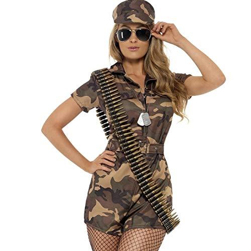 Aufregendes Army Girl Kostüm im Camouflage-Look / Braun-Oliv L (42/44) / Military Girl Verkleidung Bundeswehr Soldatin / EIN Blickfang zu Fasching & Karneval