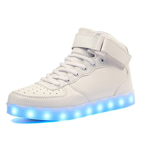 Voovix Kinder High-top LED Licht Blinkt Sneaker mit Fernbedienung-USB Aufladen Led Schuhe für Jungen und Mädchen (Weiß, EU39/CN39)