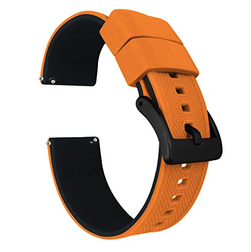 22mm Pumpkin Orange/Black - Barton Elite Silicone Watch Bands - Black Buckle Quick Release