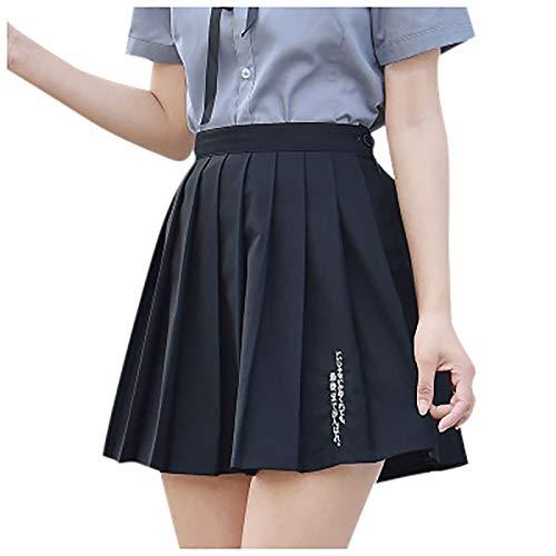 Falda de cintura alta para nias, plegable, para tenis, skater, escuela, en lnea Negro XXL