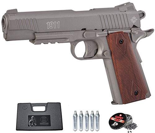 Crosman 1911 Silver | Pack Pistola de balines (perdigones). Arma de Aire comprimido CO2 Calibre 4,5mm <3,5J
