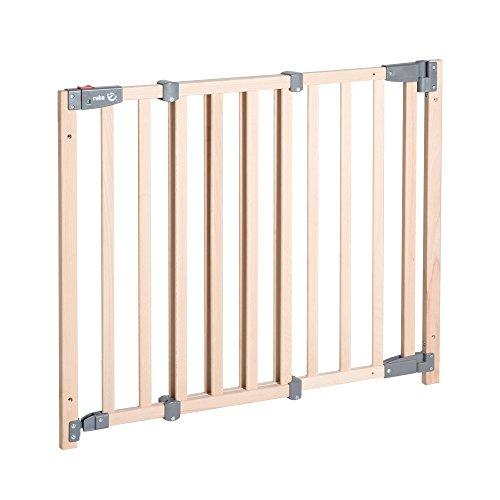 roba Türschutzgitter Safety Up, barrierefreies Holz-Schutzgitter mit Ampelfunktion für Tür und Treppe, Massivholz Buche, Verstellbreite 70 – 118,5 cm, Türschutzgitter für Kinder und Haustiere