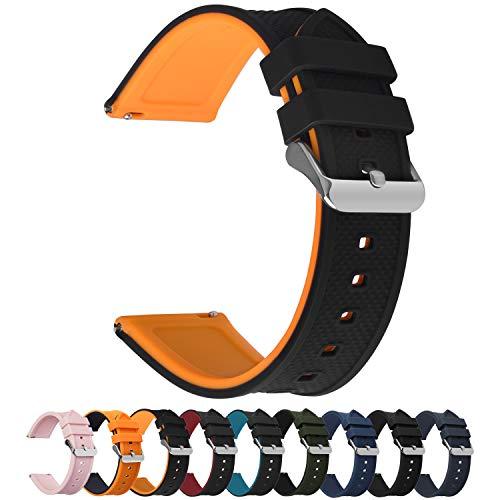 Fullmosa 10 Colori per Cinturino 18mm 20mm 22mm 24mm in Silicone a sgancio rapido, Cinturino in caucciù con Fibbia in Acciaio Inossidabile,per Uomo e Donna,22mm Nero Superiore/Arancio Inferiore