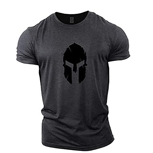 LDJ Fitness Sport Running Entrenamiento Tiempo Libre Personal Patrón Cuello Redondo Manga Corta Hombre Slim Camiseta (Gris, L)