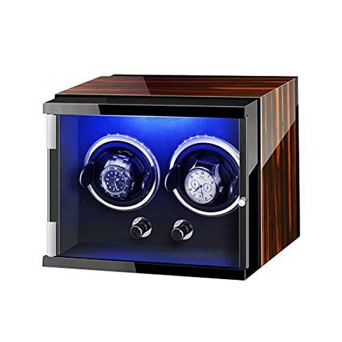 WRNM Doble Cajas Giratorias para Relojes Caja Almacenamiento Lujo Madera para 2 Relojes De Pulsera LED Siete Colores