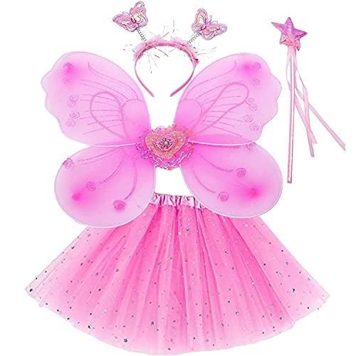AISOO Conjunto de Disfraz de Hadas Nia, 4 Piezas Disfraz de Princesa Incluye Alas de Mariposa Tut con Lentejuelas Varita Mgica y Diadema para Cumpleao Fiesta Cosplay Halloween Carnaval (rosa)