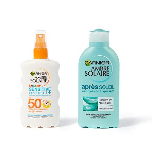 Garnier Ambre Solaire - Coffret Protection Solaire Complète - Spray Solaire Enfant FPS 50 + Sensitive Expert+ - Lait Hydratant Apaisant Après Soleil - 200 ml