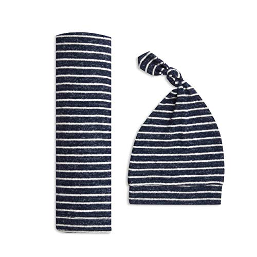 aden + anais Snuggle Knit Baby Swaddle Blanket and Infant Hat Set, Super Soft and Stretchy, Newborn Baby Girl and Boy Gifts, Navy Stripe