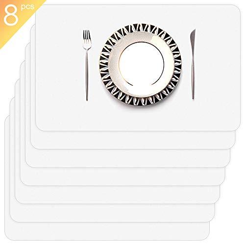GlobalDream Plástico Salvamanteles, 8 Piezas Manteles Individuales Mantel Individual Transparentes Alfombrillas para Mesa de Comedor Kitchen Placemat(43 x 28 cm)