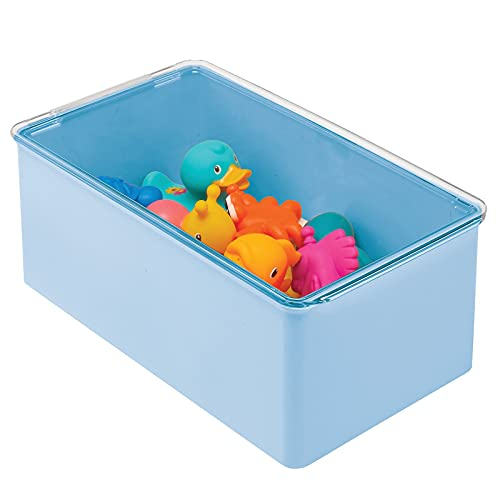 mDesign Playroom Stackable Plastic Storage Box with Lid - for Organizing Baby/Child's/Kids Toys, Action Figures, Crayons, Markers, Blocks, Puzzles, Crafts, Crayons, Dog/Cat Toy Box - Light Blue