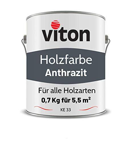 VITON Holzfarbe in Grau - 0,7 Kg Holzlack Seidenmatt - Wetterschutzfarbe für Außen - 2in1 Grundierung & Deckfarbe - Profi-Holzschutzlack - KE31 - RAL 7016 Anthrazitgrau