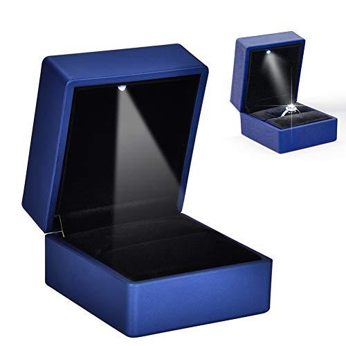 Caja de regalo LED para anillo, caja de anillo LED para joyas anillos, estuche con iluminación, caja de almacenamiento para anillo de pedida de boda, compromiso, boda