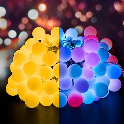 Molbory 100er LED Kugel Lichterkette Bunt 13M, Kugel Wasserdicht mit 8 Modi & Merk Funktion, Globe Lichterkette für Innen & Außen, Globe Lichterkette für Weihnachten Party Garten Hochzeit Balkon Deko