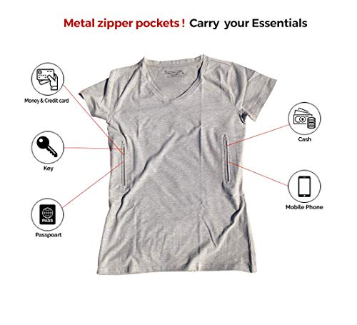Clever Travel Companion Women's Fitted V-Neck Travel Safety T-Shirt with 2 Pickpocket and Loss Proof Secret Pockets (Medium, Gray)