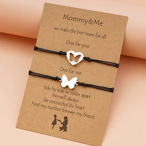 Branets Pinky Promise - Pulseras de mariposa para parejas de amistad, distancia de madre, pulseras a juego para mujeres y niñas (2 unidades)
