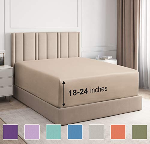 Extra Deep Pocket Fitted Sheet - Single Fitted Sheet Only - Extra Deep Pockets Twin Size Sheets - Fits 18 In to 24 In Mattress - Extra Deep Twin Fitted Sheet - Deep Pockets that Actually Fits Mattress