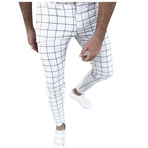 XUETON Mens Casual Plaid Pants Stretch Flat-Front Skinny Dress Elastic Waist Long Pencil Pants Trousers(White,XX-Large)