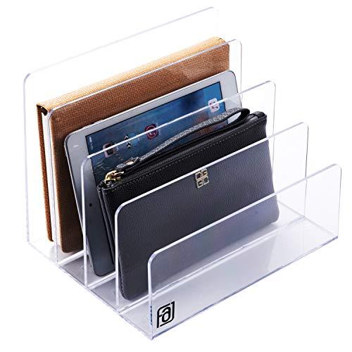 Acrylic File Organizer Holder, Desktop, Laptop, Folder, Palette Makeup, Office, Letter, Notebook, Electronics, Purse, Book,Clear Lucite Paper Sorter, 4 Section, 9-Inch Wide x 7-Inch Deep x 7-Inch High