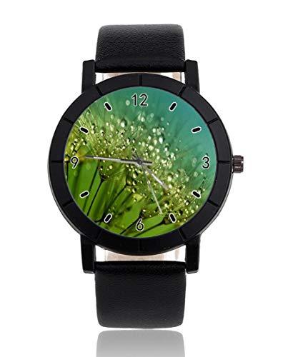 Green Water Drop sfondo giada personalizzato orologio casual nero cinturino in pelle orologio da polso per uomini donne unisex orologi