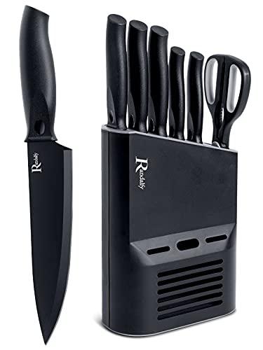 Manelord Couteaux Cuisine, Ensembles de Couteaux de Cuisines Professionnels, 6 Pièces Couteaux de Cuisine Fabriqué avec Bloc Couteau