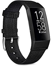 Vancle Woven Bands Compatible with Fitbit Charge 3 Bands and Fitbit Charge 4 Bands, Soft Woven Fabric Replacement Accessory Strap for Charge 4 Charge 3 Charge 3 SE Fitness Activity Tracker Men Women (007, Rainbow Pattern)