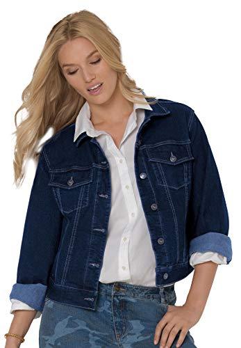 Womens Plus Size Stretch Dark Indigo Denim Jacket