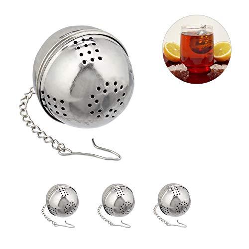 Relaxdays Teeei, 4er Set, Teesieb für losen Tee, Edelstahl, Kugelform, Tassen & Gläser, Kette mit Haken, Ø 4 cm, silber