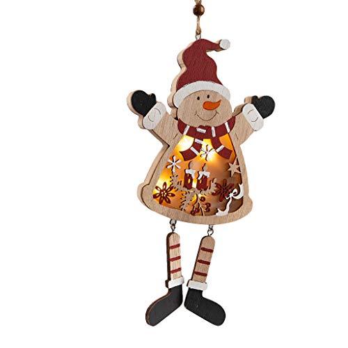 CRITY LED Licht Anhänger, Weihnachten Alter Mann Schneemann Ornamente aus Holz Marionette Beleuchten Weihnachtsbaum Hängende Verzierung (A)